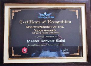 Ranveer SportsPersonOftheYear Certificate
